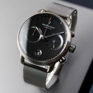 【Nordgreen】Pioneer先鋒x深空灰 極夜黑錶盤 深空灰米蘭腕錶 42mm(PI42GMMEGUBL)