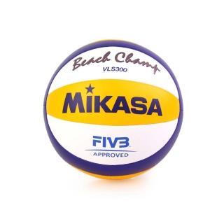 【MIKASA】手縫沙灘排球-5號球 FIVB指定球 海邊 黃藍白(VLS300)