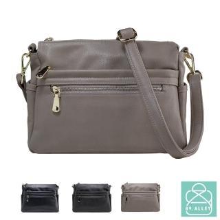 【89.Alley】側背包 手感軟皮革雙面三層款兩用斜背包 女包(3色)