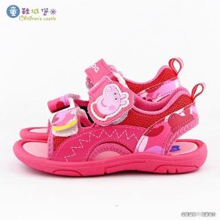【童鞋城堡】佩佩豬迷彩雙帶涼鞋 粉紅豬小妹(PG4554-桃)