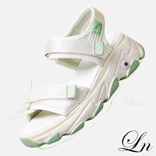 【LN】現+預 夏季百搭魔術貼厚底運動涼鞋(休閒鞋 涼鞋)