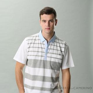 【ROBERTA 諾貝達】台灣製 橫條紋 修身休閒短袖POLO棉衫(白色)