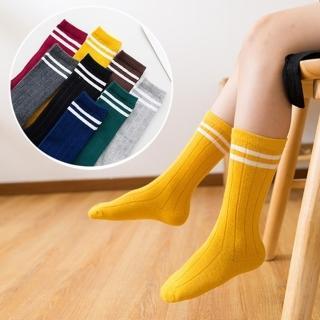 【橘魔法】雙槓純棉童襪中筒襪堆堆襪(中筒襪襪兒童足球襪中性款白色襪子學生襪)/
