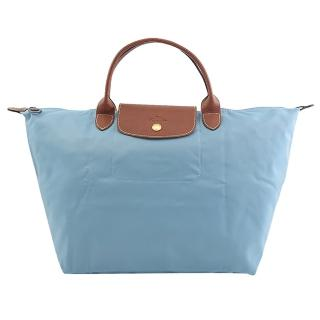 【LONGCHAMP】Le Pliage 折疊短揹帶中肩提包(水藍)