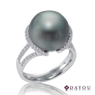 【DAYOU】天然南洋黑珍珠 真金真鑽 靈犀戒指 大祐(#11 南洋珠13-13.5MM 鑽石0.31CT附證 買一送一)