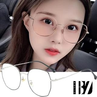 【BeLiz】多角圓框*雙色細金屬平光眼鏡/黑銀/