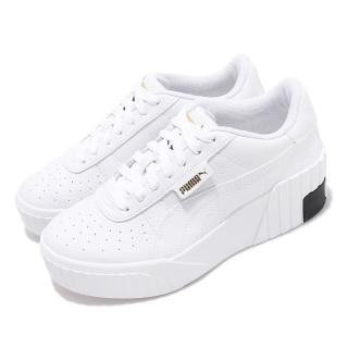 【PUMA】休閒鞋 Cali Wedge 運動 女鞋 基本款 皮革 簡約 舒適 球鞋 穿搭 白 黑(37343803)