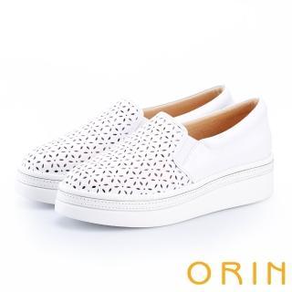 【ORIN】牛皮花紋簍空厚底休閒便鞋(白色)