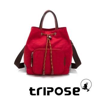 【tripose】漫遊系列岩紋手提斜背水桶包(番茄紅)