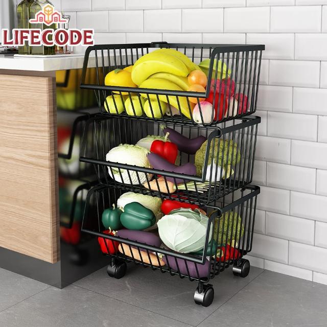 【LIFECODE】《收納王》鈦鋼炭黑-三層蔬果收納推車/