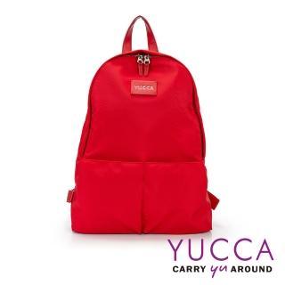 【YUCCA】個性螢光色防潑水尼龍後背包-紅色(D012303)