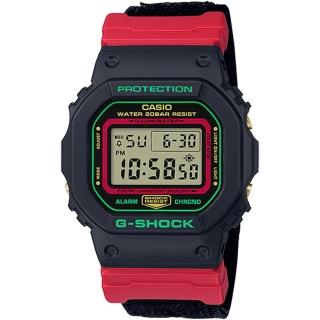 【CASIO 卡西歐】G-SHOCK 翻玩聖誕電子手錶(DW-5600THC-1)