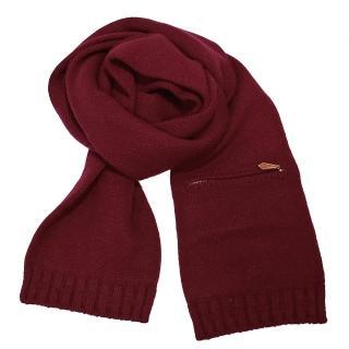 【Hermes 愛馬仕】H 經典素面針織圍巾(紅色)