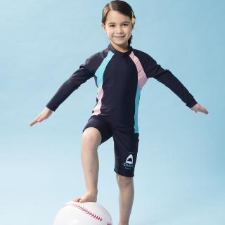 【SAIN SOU 聖手牌】女童兩截式防曬泳裝附泳帽(A802002)