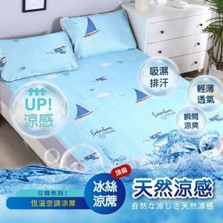 【DaoDi】全新頂級超涼爽冰絲涼蓆2入組(尺寸雙人加大:床墊x1+枕套x2/組多款任選)/