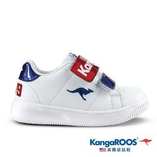 【KangaROOS 美國袋鼠鞋】童鞋 FLASH 經典小板鞋1979/休閒鞋/運動鞋(白/藍/紅-KK01346)