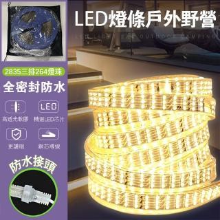 野營LED燈條-10米(隨意彎曲 防水接頭 硅膠防水環 防水插頭套尾塞)