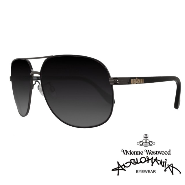 【Vivienne Westwood】ANGLO MANIA系列-經典品牌文字款太陽眼鏡(AN780-01 黑)