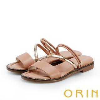 【ORIN】金屬斜邊飾條牛皮平底拖鞋(黑色)