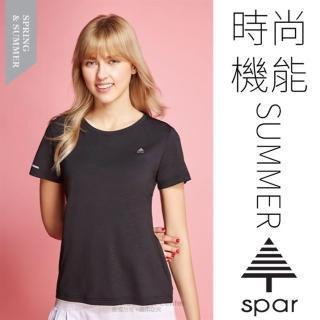 【名典 SPAR】女款 吸濕排汗彈性短袖圓領T恤.休閒衫.排汗上衣(SA1096105 黑色)