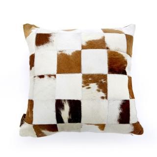【Finara 費納拉】印象派咖啡白-天然牛皮雙面抱枕