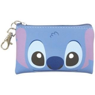 【小禮堂】迪士尼 史迪奇 方形皮質拉鍊零錢包《藍.大臉》掛飾.收納包.耳機包
