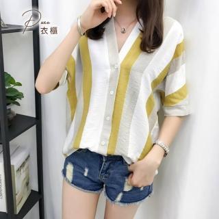 【Pure 衣櫃】日韓時尚V領條紋短袖襯衫上衣(上班/約會/氣質/百搭/PCT-1823)