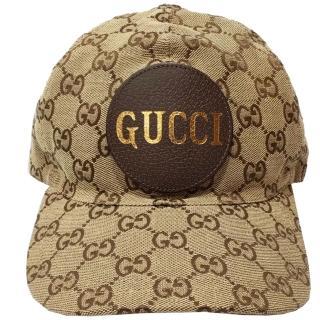 【GUCCI 古馳】576253  GUCCI LOGO緹花布棒球帽(棕色 M號)