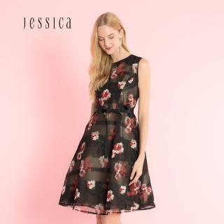 【JESSICA】黑色花卉印花A型寬裙擺甜美洋裝/