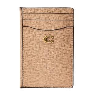【COACH】專櫃款米色魚子醬皮革卡片夾