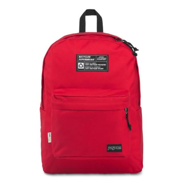 【JANSPORT】環保材質校園背包-RECYCLED SUPERBREAK(紅)