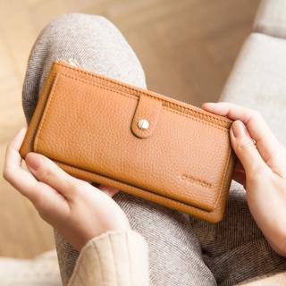 【CHENSON】真皮13卡超薄2.0典雅長夾皮夾手機包 咖(W28110-B)
