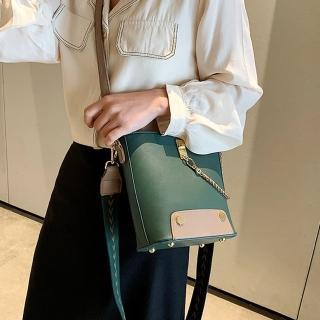 【Abigail】復古寬背帶肩背包斜背包水桶包鍊條包手提包6128(綠色)