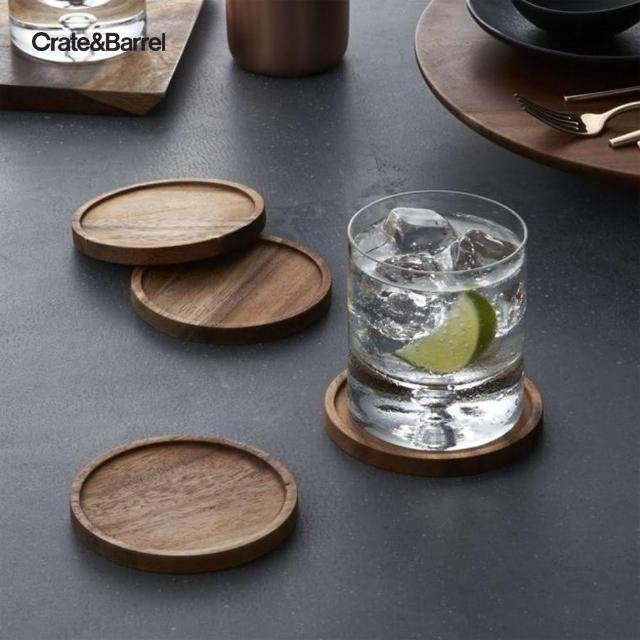 【Crate&Barrel】Acacia杯墊4入