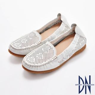 【DN】平底鞋_MIT舒適真皮童趣樂福鞋(白)