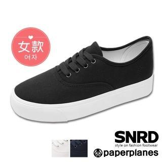 【Paperplanes】韓國空運來台/版型正常。舒適自在綁帶帆布厚底小白鞋休閒鞋(7-0582/三色-現貨+預購)