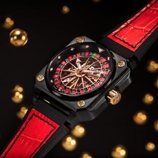 【ROMAGO】帝霸系列 輪盤鏤空機械錶-黑色/46.5mm(RM085-0557PL-BKBK-6)