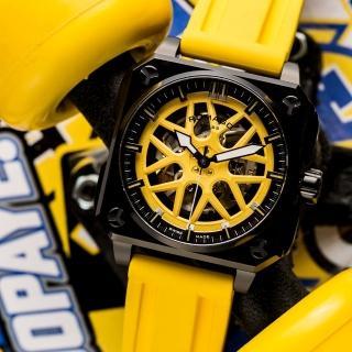 【ROMAGO】極速鏤空自動腕錶-黃色/46.5mm(RM105-YE)