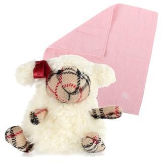 【BURBERRY 巴寶莉】限量版經典格紋拼接可愛綿羊絨毛玩偶方巾組(白色)