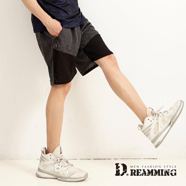 【Dreamming】雙色拼接鬆緊抽繩運動休閒短褲