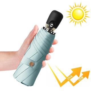 【幸福揚邑】鈦防曬抗UV降溫UPF50+全自動8骨晴雨口袋迷你五折疊傘(晨藍)