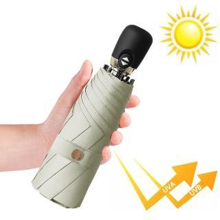 【幸福揚邑】鈦防曬抗UV降溫UPF50+全自動8骨晴雨口袋迷你五折疊傘(米咖)