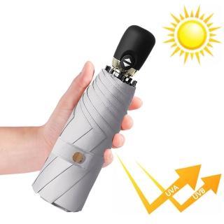 【幸福揚邑】鈦防曬抗UV降溫UPF50+全自動8骨晴雨口袋迷你五折疊傘(霧灰)