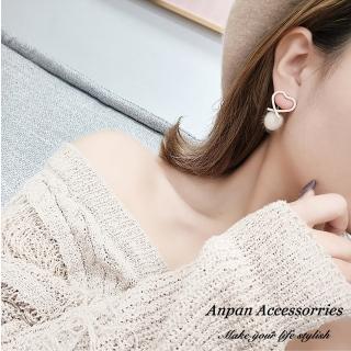 【Anpan】925銀針韓東大門前後扣一款兩戴暖暖愛心耳環