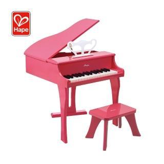【Hape 愛傑卡】豪華木製三角鋼琴(音樂啟蒙玩具)