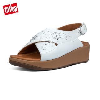 【FitFlop】MYLA FLORAL STUD BACK-STRAP SANDALS 可調式交叉後帶涼鞋-女(都會白)