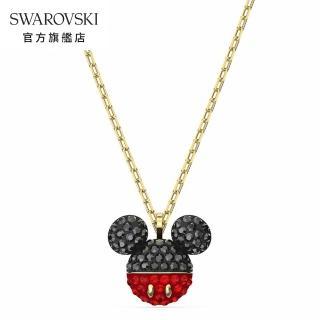 【SWAROVSKI 施華洛世奇】Mickey 淡金色魅力米奇項鍊