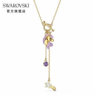 【SWAROVSKI 施華洛世奇】Unicorn 淡金色流星獨角獸Y形項鍊