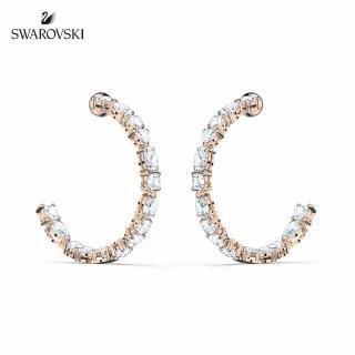 【SWAROVSKI 施華洛世奇】Tennis Deluxe 玫金色時尚閃耀穿孔耳環