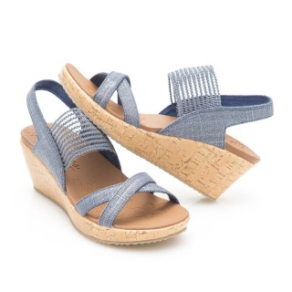 【SKECHERS】 女 楔型底休閒涼鞋 BEVERLEE(31723NVY/38527BLK/38527WNVY寬楦)